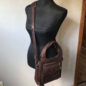 〰️Fossil 75082 Brown Leather crossbody bag